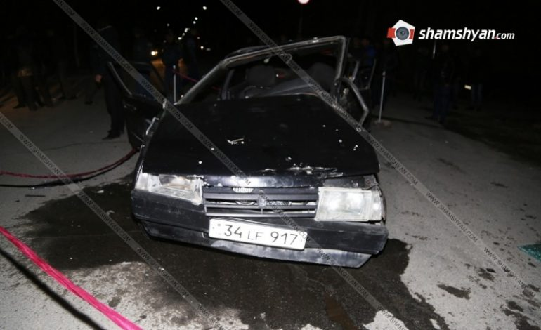 ՖՈՏՈ. Թալինում բախվել են ոստիկանության զորքերի ծառայողի Opel-ն ու ազատամարտիկի «099»-ը. վերջինի վարորդը տեղում մահացել է