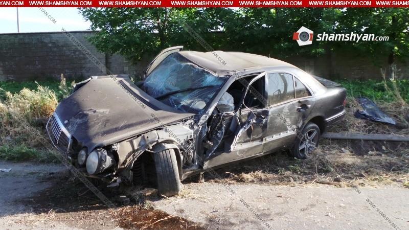 ՖՈՏՈ. 26–ամյա վարորդը Ֆուտբոլի ակադեմիայի մոտ Mercedes-ով տապալել է երկաթբետոնե էլեկտրասյունը, այնուհետև գազախողովակը. կան վիրավորներ