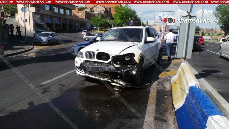 Բացառիկ կադրեր. Երևանում ինչպես է տեղի ունեցել BMW X5 –ի և Opel-ների բախումը