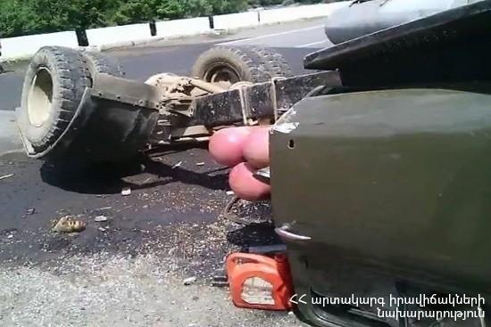 «ԳԱԶ-53» բեռնատարը (տեղափոխում է 5 տոննա դիզելային վառելիք) կողաշրջվել է. Կան տուժածներ