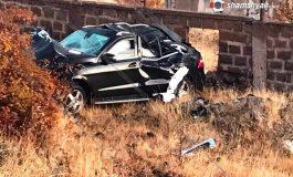 ՖՈՏՈ. Խոշոր ավտովթար Արագածոտնի մարզում. ԵՊՀ 18-ամյա ուսանողուհին Mercedes-ով կողաշրջված վիճակում հայտնվել է ձորում