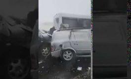 Բացառիկ տեսանյութ. Սևան-Երևան մայրուղու վրա՝ մերկասառույցի պատճառով մոտ 40 մեքենա է ջարդուփշուր եղել